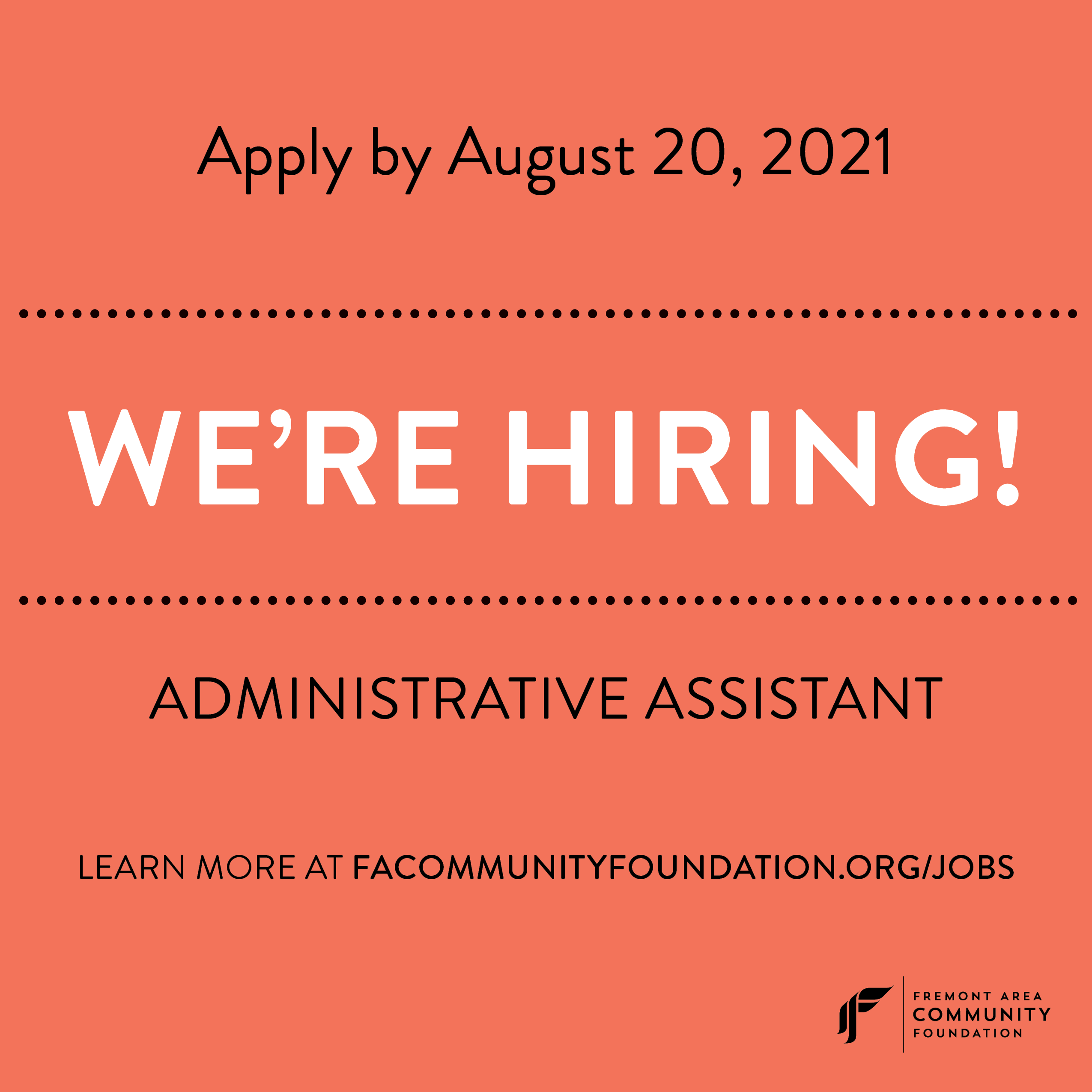 We're Hiring: Administrative Assistant