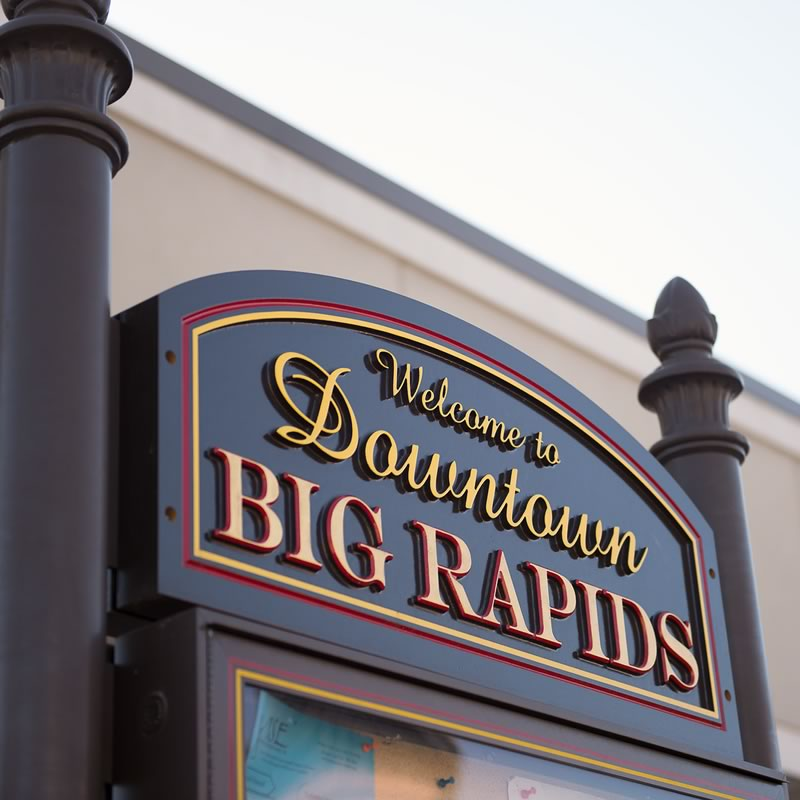 Mecost County - Welcome to Downtown Big Rapids Sign